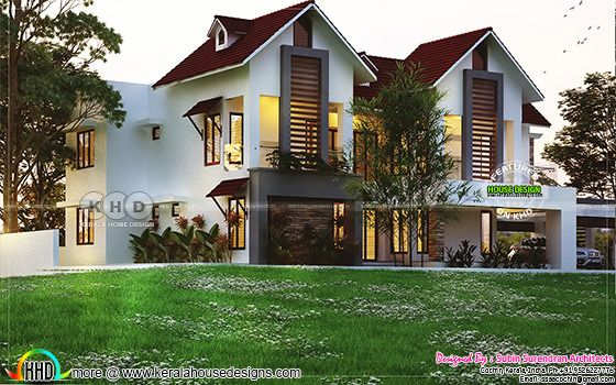 5 bedroom sloped roof modern home architecture