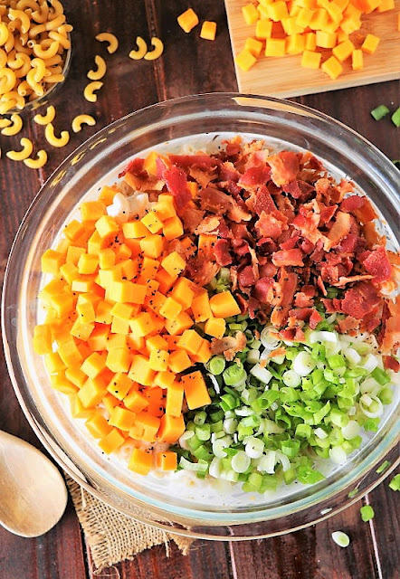 Loaded Baked Potato Macaroni Salad Ingredients Image