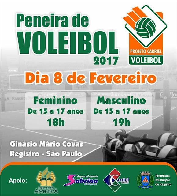 Peneira de Voleibol 2017 em Registro-SP neste 08/02