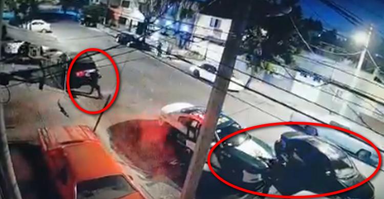 Captan momento en que un policial le hace frente a varios sicarios que ejecutaron a un sujeto en la Ciudad de México
