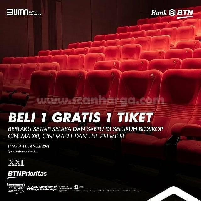 Promo CINEMA XXI BELI 1 GRATIS 1 dengan Kartu Debit BTN Prioritas