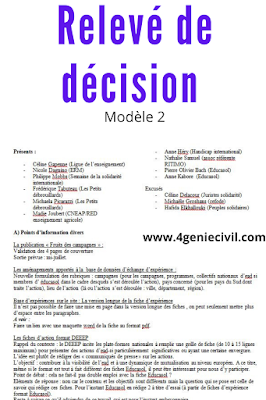relevé de décision  exemple de modèle word 2