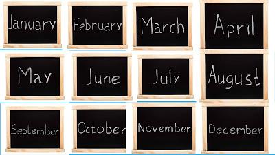 شهور السنة الميلادية باللغة الإنجليزية
