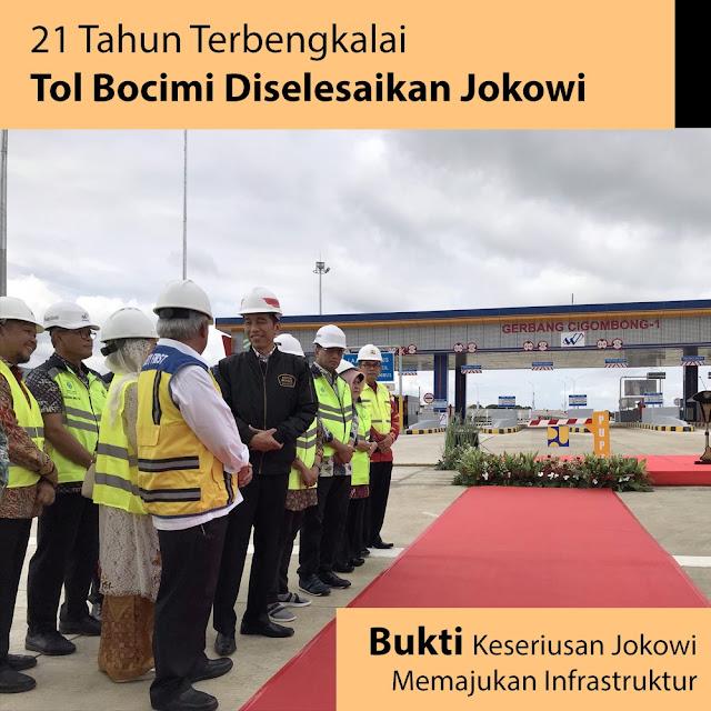 21 Tahun Terbengkalai, Tol Bocimi di Selesaikan Oleh Jokowi
