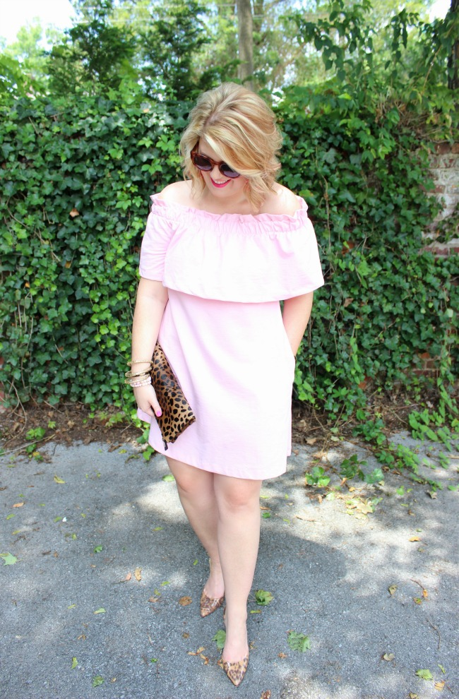 Affordable pink off the shoulder H&M dress