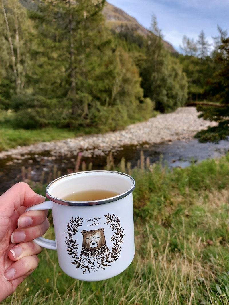 """Into the wild"" Juniper Press enamel mug, in the wild (at Glen Doll)"