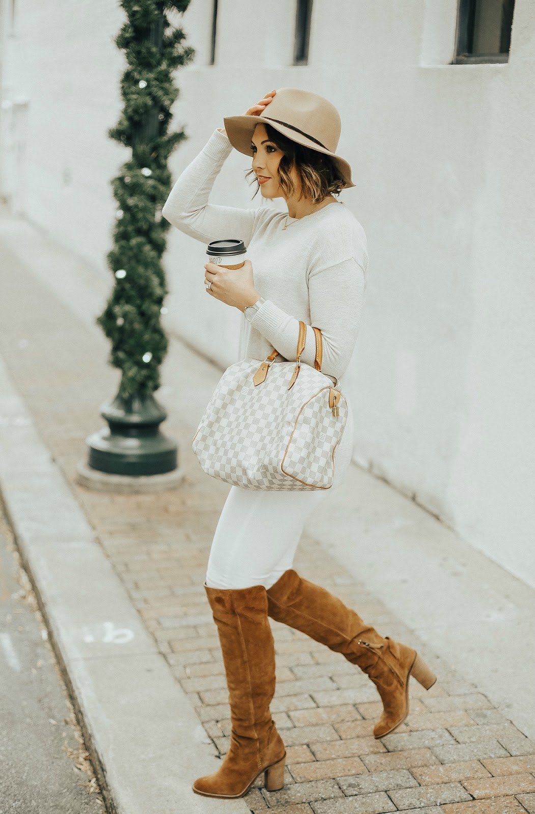 louis vuitton damier azur, life and messy hair, louis vuitton speedy, xo samantha brooke, neutrals outfit, suede over the knee boots