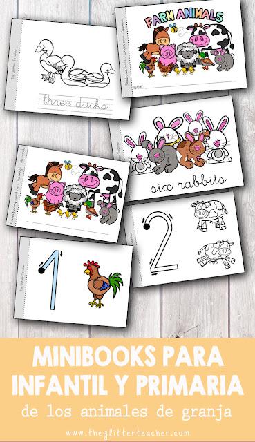 Minibooks para educación infantil y educación primaria de los animales de la granja y la serie numérica hasta el diez. Estos cuadernos imprimibles sirven como libros de lectura y repaso para el aula de idiomas. Es un recurso genial como refuerzo para el alumnado con necesidades específicas.