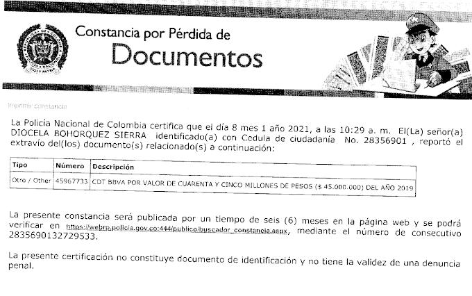 Aviso de Denuncia de pérdida de Certificado de Depósito
