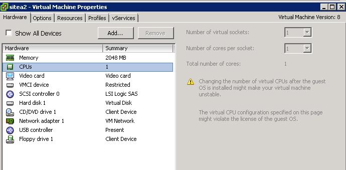 cannot change memory of running vm