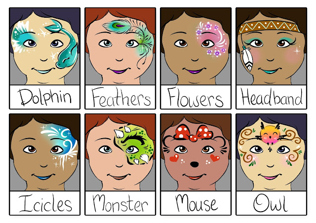 Carnival themed face painting menu page 1