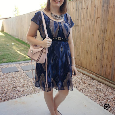 awayfromblue Instagram | navy ikat print belted dress with rebecca minkoff small darren bag