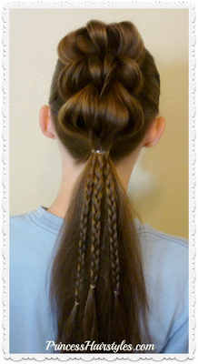 3 strand pull through braid ponytail with micro braids.