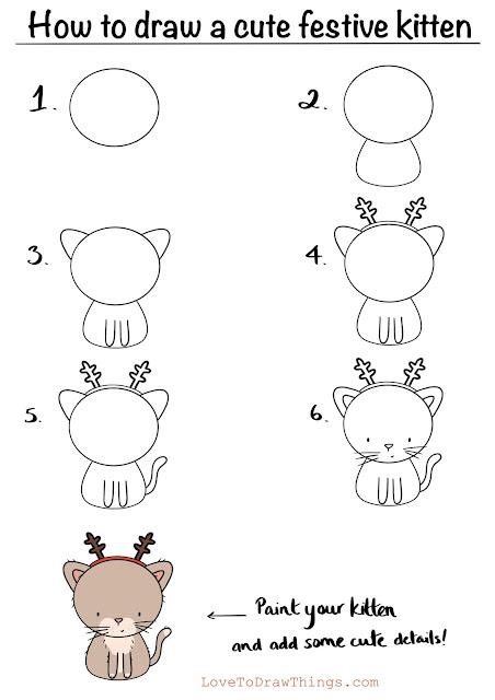 Easy beginners drawing tutorial step by step festive kitten