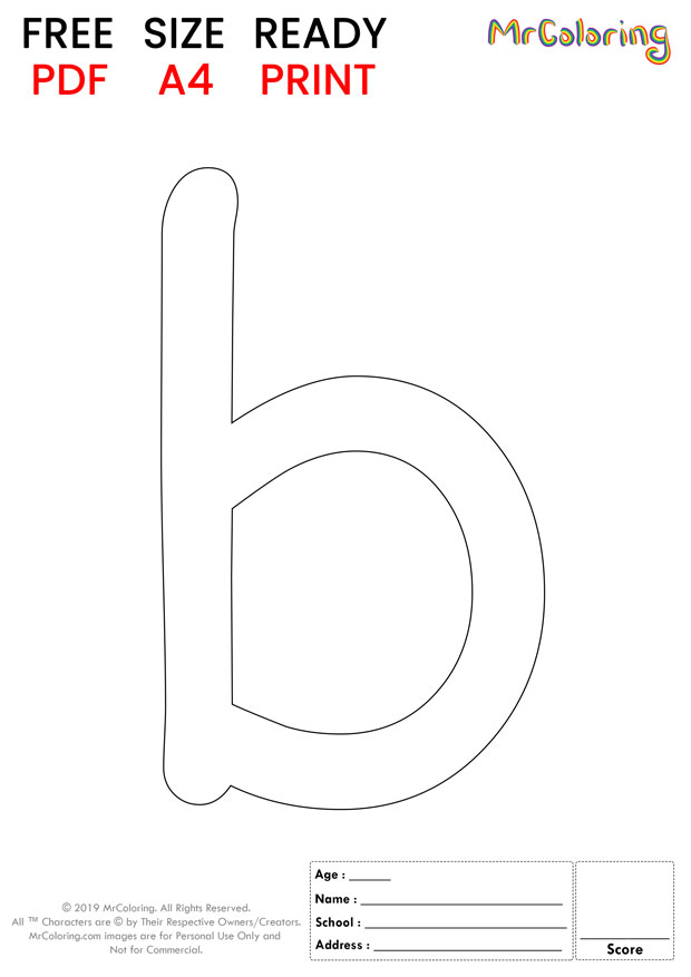 Alphabet letter b coloring pages lowercase cartoon for kids