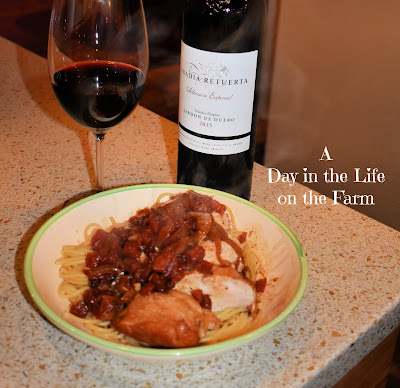 Balsamic Braised Chicken Breasts paired with wine