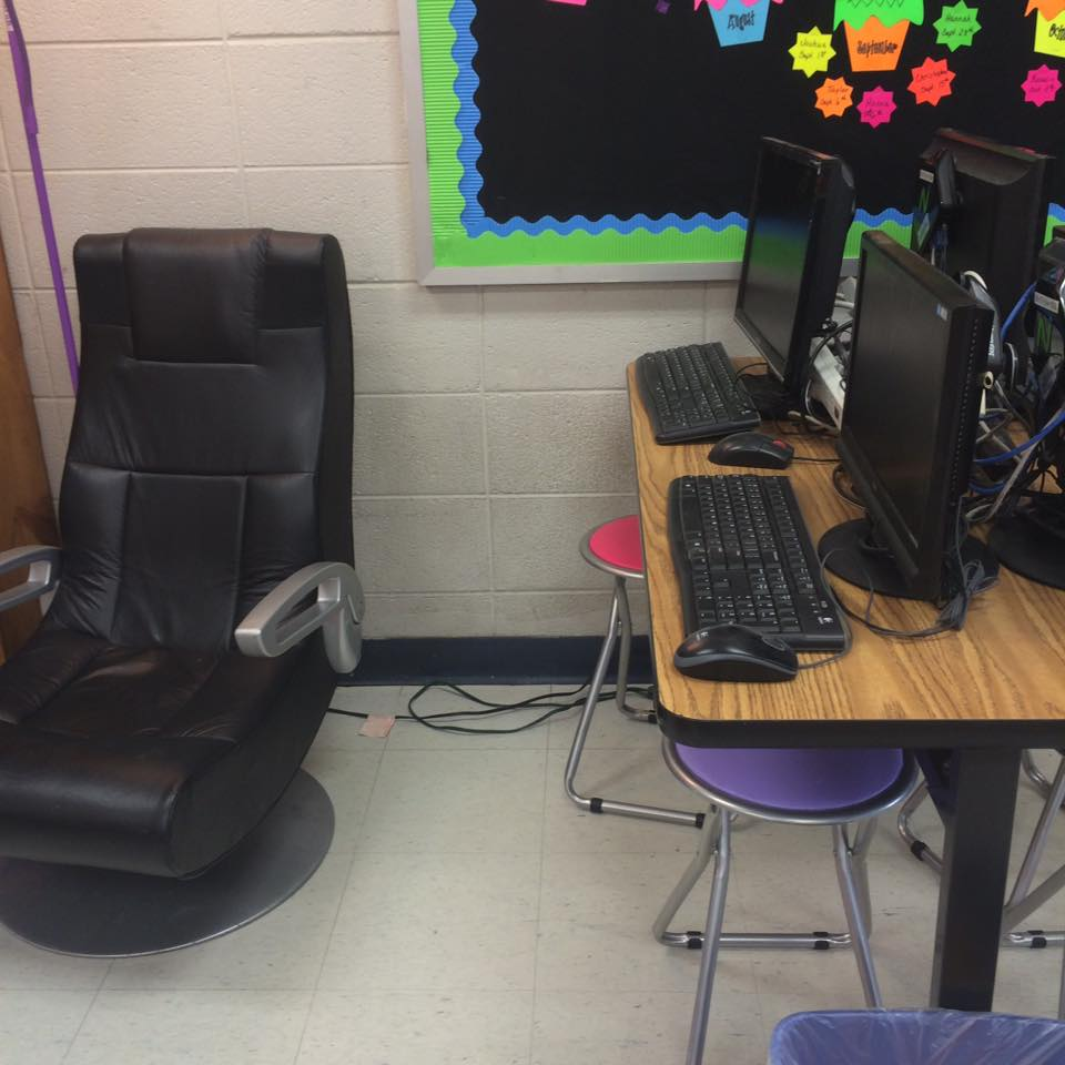 Perfect Here is a closer look at the black leather gaming chair next to my classroom library seat