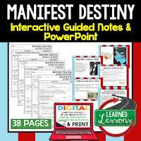Manifest Destiny, American History Guided Notes, American History Interactive Notebook, Google and Print, American History Note Taking, American History PowerPoints, American History Anticipatory Guides