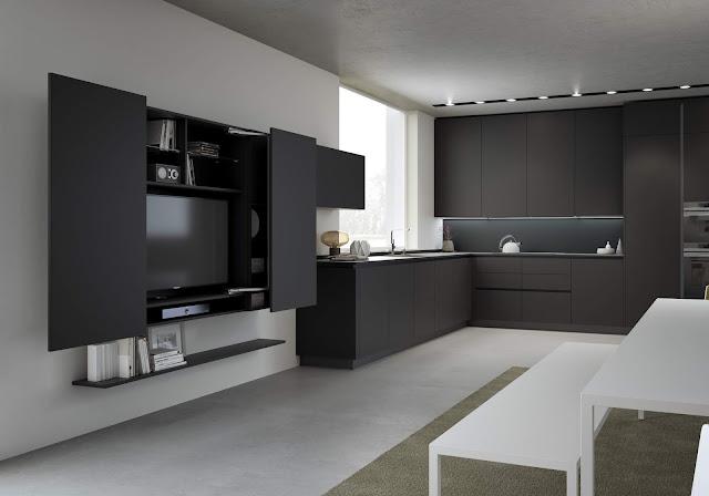 cucina moderna; cucina nera