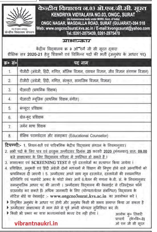 Kendriya Vidyalaya, ONGC, Surat Recruitment 2020 | Teacher & Other Posts: