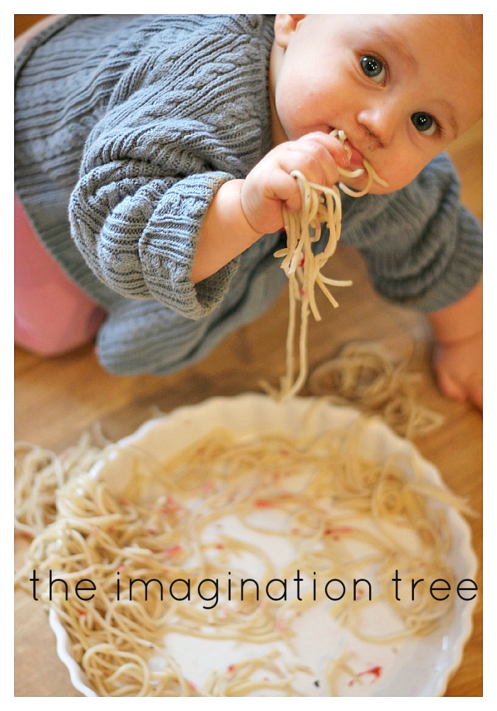 Baby Sensory Play Raspberry Spaghetti The Imagination Tree