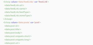 Tổng hợp danh sách các loại thẻ data mặc định trong blogspot