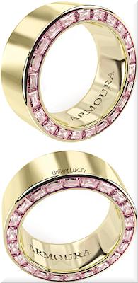 ♦Armoura Arclight diamond eternity ring in 18k yellow gold with 44 pink baguette cut diamonds #jewelry #armoura #brilliantluxury