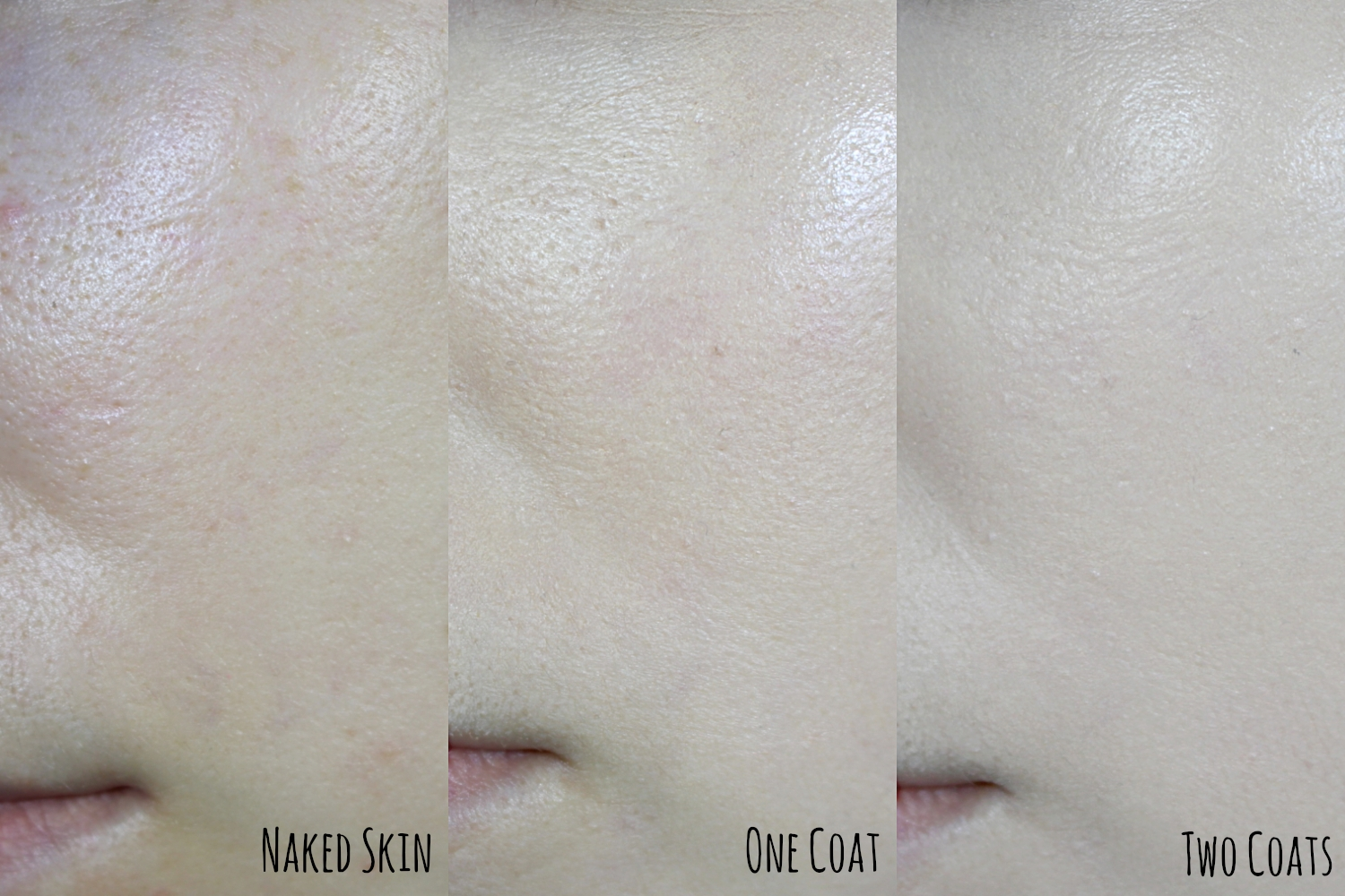 demonstration Mac Cosmetics Studio Fix Fluid Foundation In Shade NC 10 naked skin, one coat and two coats of foundation