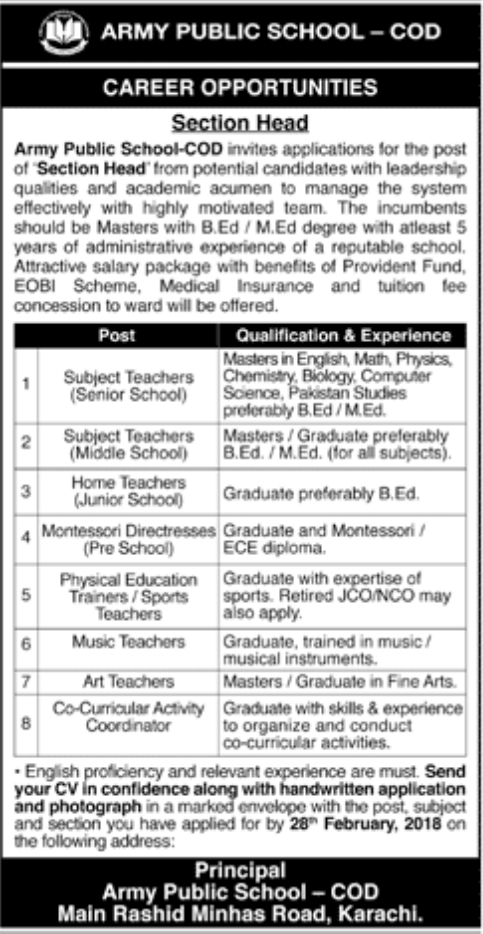 Jobs In Army Public School And College Karachi 2018 for 10 Posts