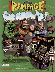 Rampage World Tour+arcade+game+portable+art+flyer