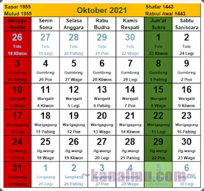 kalender jawa bulan oktober  2021 - kanalmu