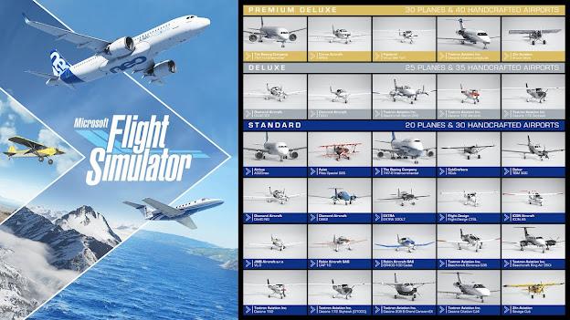 Microsoft Flight Simulator 2020 official plane listing