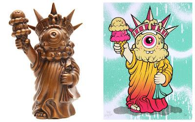 Bronze Liberty Sculpture and Screen Print by Buff Monster