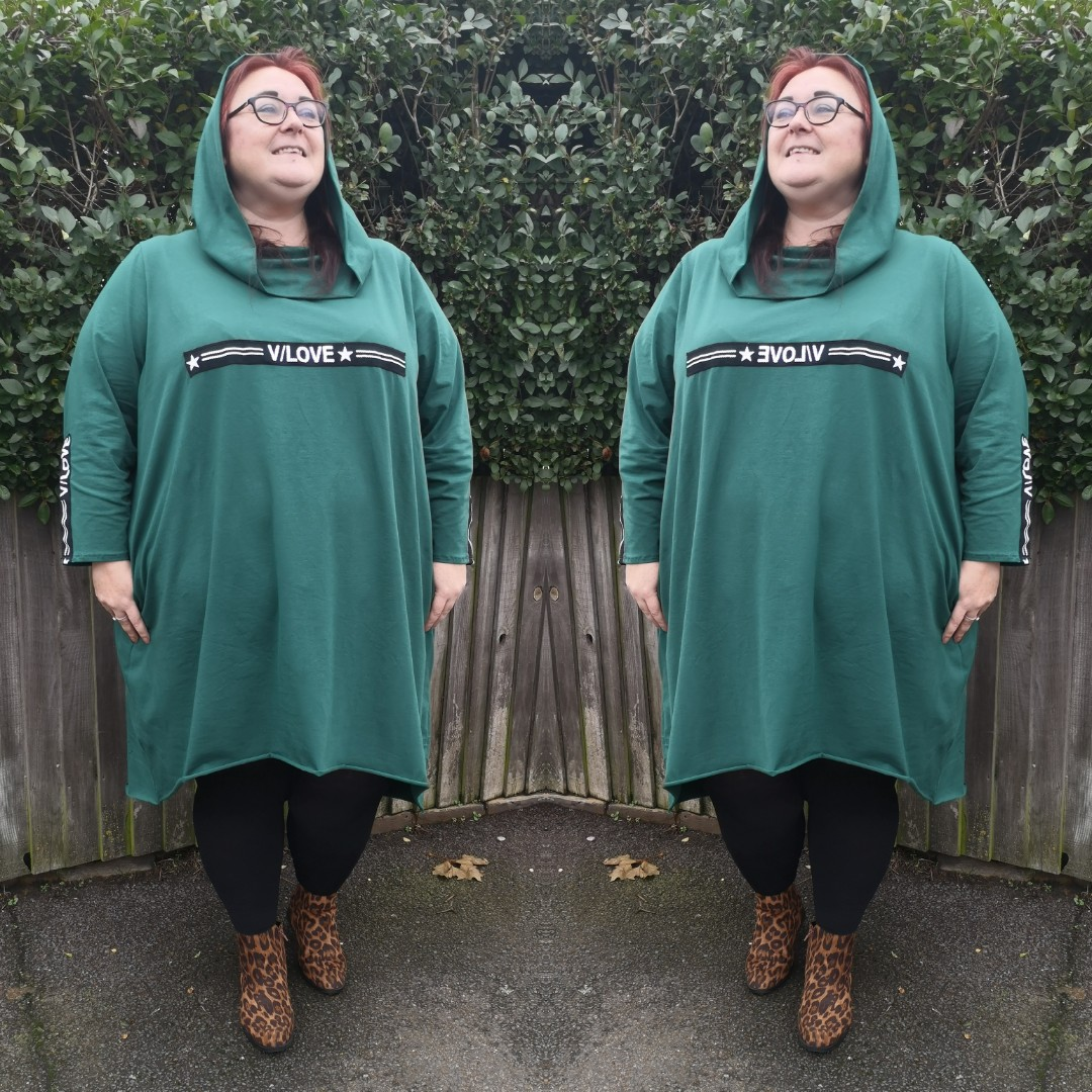 Wolfairy Plus size a-line jersey dress tunic long sleeve pockets