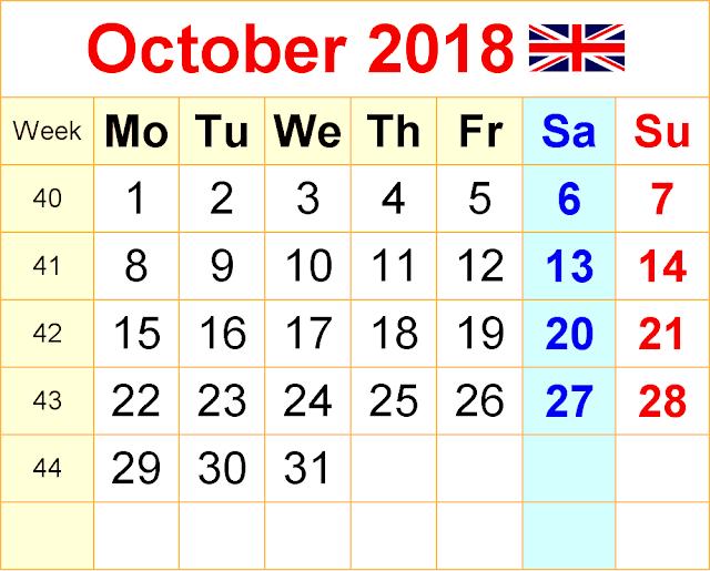 October 2018 calendar A4 Sheet