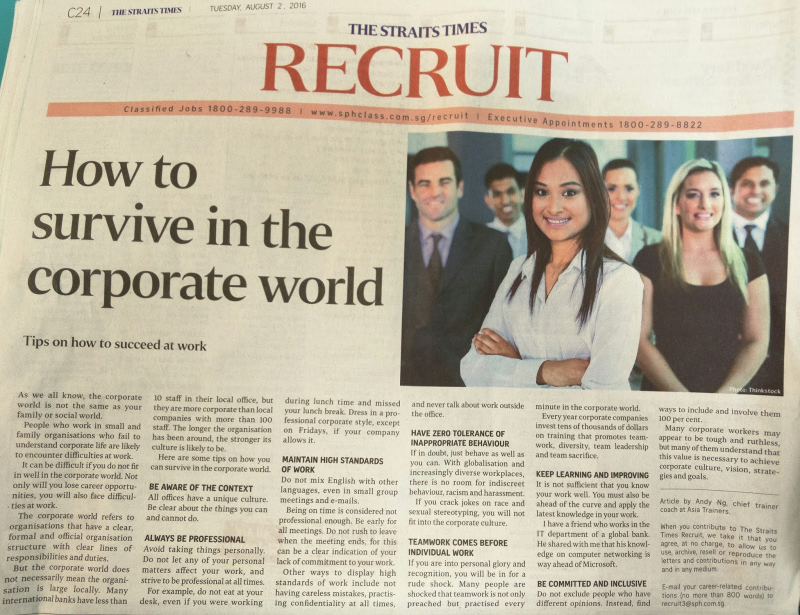 secrets to succeed in your work and business how to survive in this article was published in the straits times on tuesday 2 2016 as we know the corporate world is not the same as your family or social world