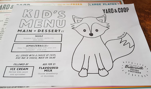 Yard and coop restaurant review kids menu Nugz Amaizeballs Mac an Cheese etc