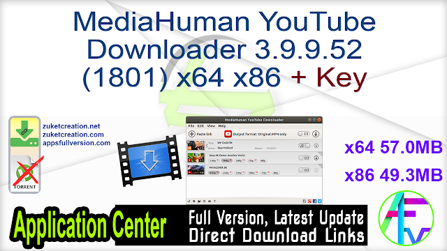 MediaHuman YouTube Downloader 3.9.9.52 (1801) x64 x86 + Key