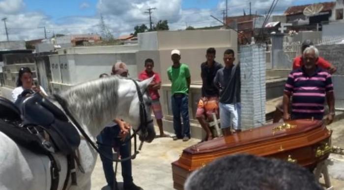 Cavalo acompanha velório do dono e gera comoção ao se aproximar do caixão em Jaguaquara