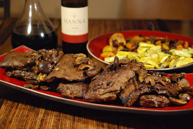 Pan-Seared Skirt Steak with Shiitake-Wine Reduction paired with Hanna Winery Malbec