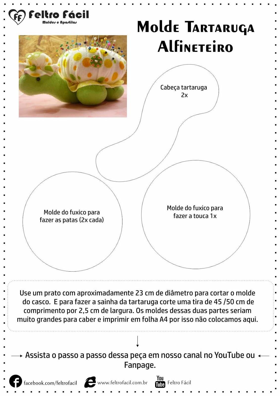 Tartaruga Alfineteiro Agulheiro Molde Feltro F Cil Moldes  ~ Molde De Touca Para Cozinha