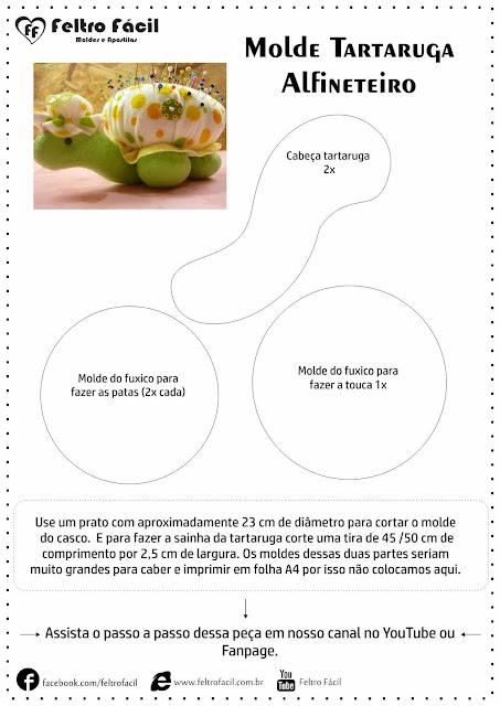 "alt=""molde de tartaruga em feltro"""