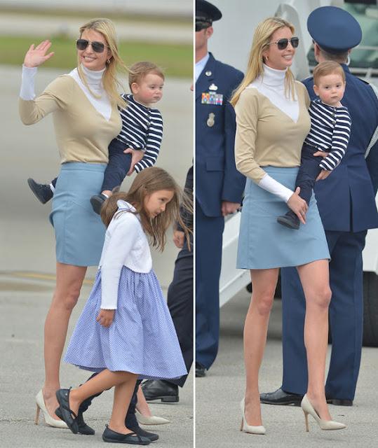 Ivanka Trump reveals some skin in SLEEK pastel blue skirt