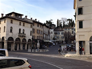 The Piazza Giuseppe Garibaldi, the main square in the town of Asolo in the Veneto