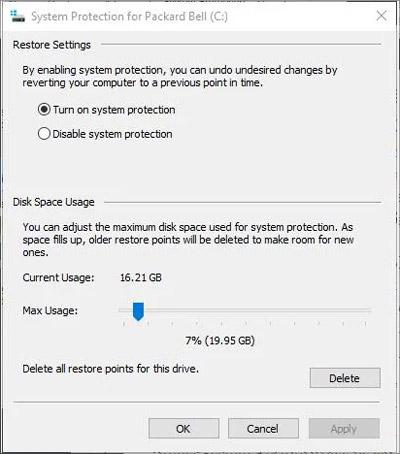 مساحة القرص Windows 9