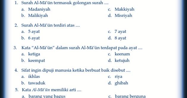 Download Kumpulan Soal Uts Genap Pendidikan Agama Islam Kelas 5 Semester 2 Rief Awa