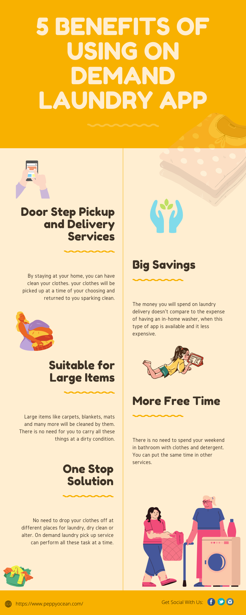 5 benefits of using on demand laundry app #infographic