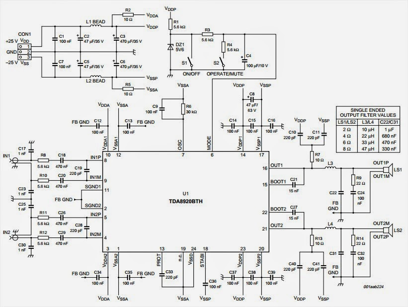 Wiring & diagram Info: TDA8920 2x100W class D power amplifier