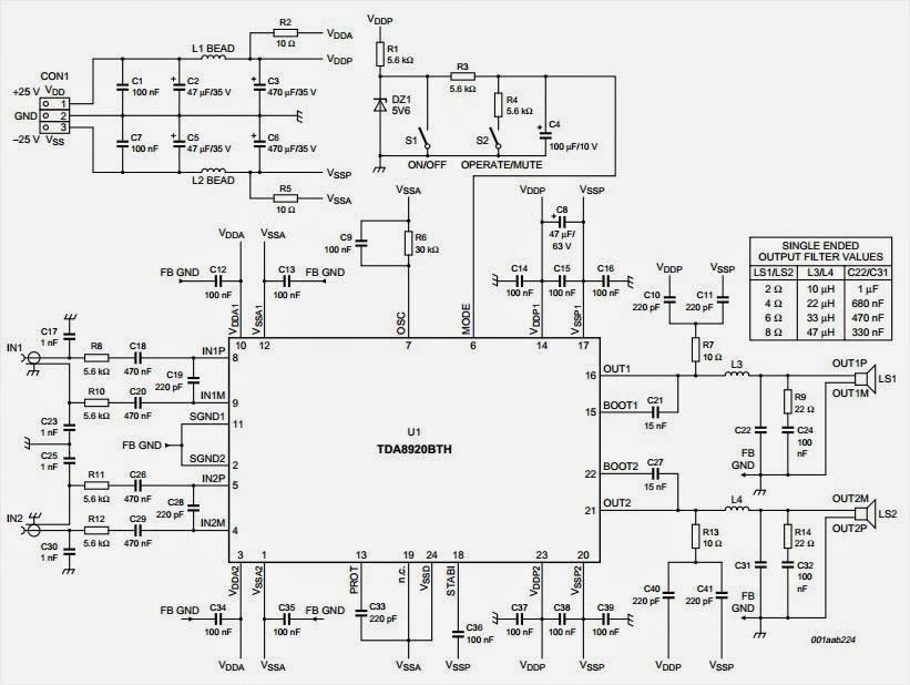 Wiring & diagram Info: TDA8920 2x100W class D power amplifier
