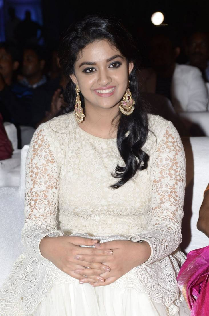 Actress Keerthi Suresh Long Hair In White Dress